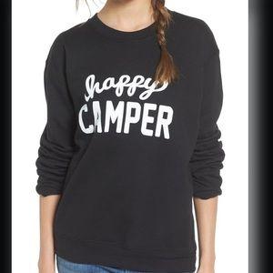 'Happy Camper' Graphic Sweatshirt Black